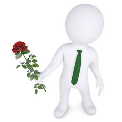 3d man holding a white rose
