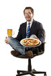 Young  man with pizza and beer