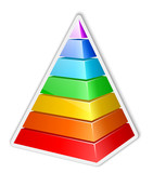 Color layered pyramid sticker. Vector illustration
