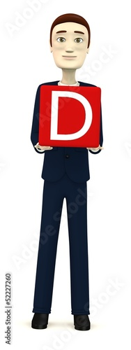 3d render of businessman with letter D