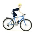 3d render of cartoon character on bicycle