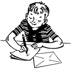 Boy writing a letter