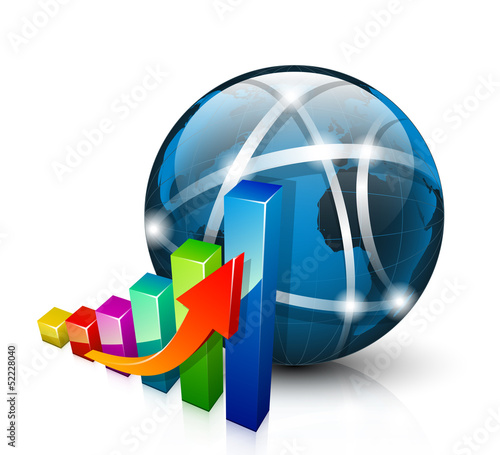 Stats icon. 3D graph growing up and abstract globe