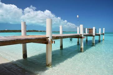 Wooden jetty. Exuma, Bahamas