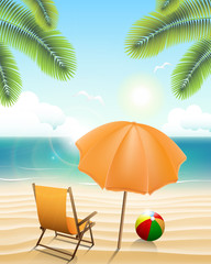 Beach with parasol, chair, ball and palm trees