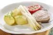 asparagus with potato and pork chop