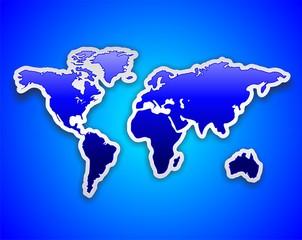 World Map Blue Sticker-Mappa Mondiale Adesivo Blu