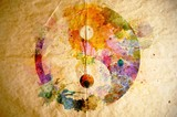 Fototapety Watercolor yin yang symbol, old paper background
