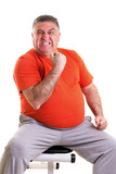 Overweight man showing his strength after doing exercises seted poster