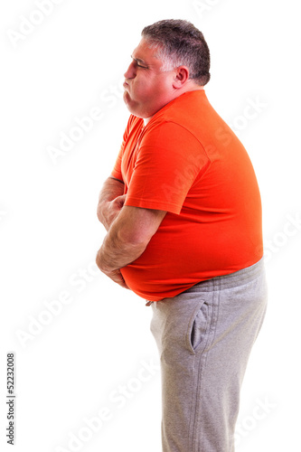 Overweight man with strong stomach pain