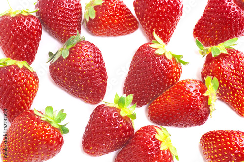 Fresh strawberries on white