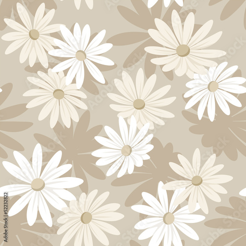 Seamless background with white and beige flowers. Vector.