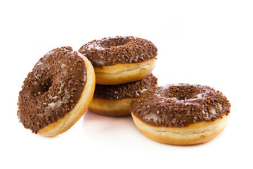 Chocolate Donuts . Isolated on a white background. doughnut