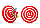 social media red darts target aim poster