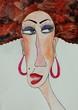 Portrait of gypsy woman. Watercolours on paper