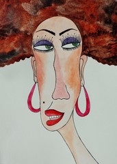 Portrait of gypsy woman. Watercolours on paper