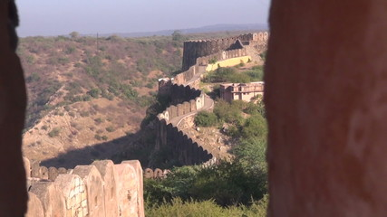 Jaipur city  Nahargarh fort defensive wall in Rajasthan, India