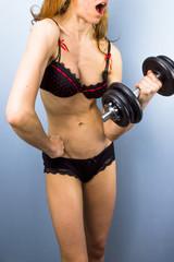 Sexy female bodybuilder in lingerie
