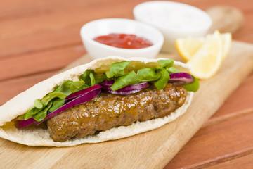 Seekh Kebab in Pita Bread - Grilled minced meat kebab sandwich