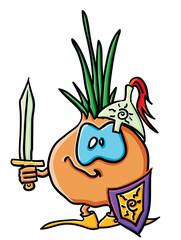 Funny cartoon onion is a knight