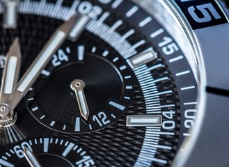 Chronograph detail. Selective focus, shallow depth of field
