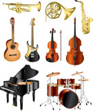 musical instruments photo-pealistic vector set