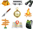 tourism and camping icons detailed vector set