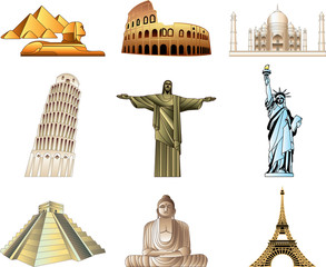 world famous monuments icons vector set