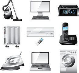 home appliances detailed vector set