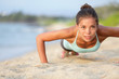Push-ups fitness woman doing pushups outside