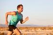 Running man sprinting cross country trail run
