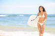Surfer girl - body surfing beach woman laughing