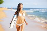 Happy beach people - woman surfer having fun