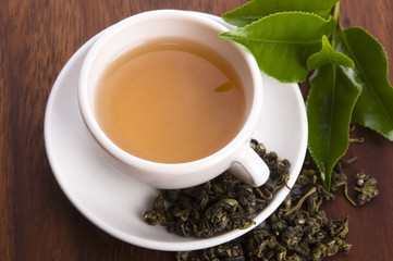 cup of green tea with freh leaves
