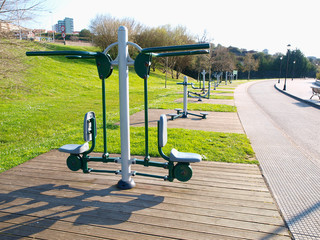Exercise machines in a park