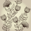 Seamless hand drawn elegant retro floral background. Eps10