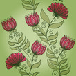 Seamless hand drawn vintage green pattern with flowers. Eps10