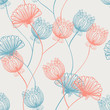 Seamless hand drawn pink and red vintage pattern with flowers