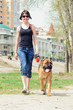woman and dog bullmastiff