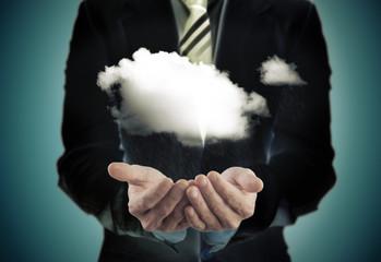 concepto de ecologia y negocios.Sosteniendo una nube.