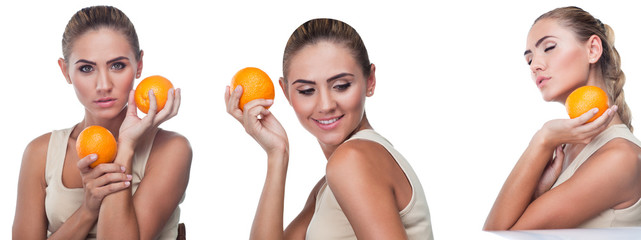 Woman with juice on white background.  Concept vegetarian dietin