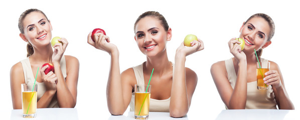 Happy Young Woman with apple juice on white background