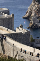 Sidewalk on the ramparts around the city of Dubrovnik