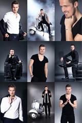 Junger Geschäftsmann im Business Look Collage