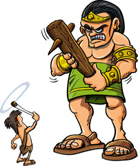 Cartoon David and Goliath