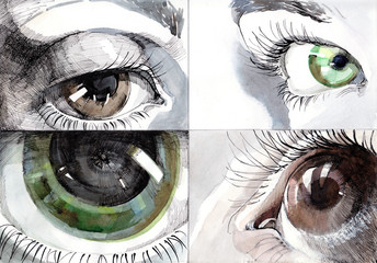 painting of beautiful human eye