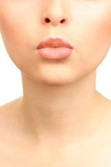 Beautiful make up of glamour beige gloss lips