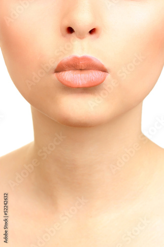 Beautiful make up of glamour beige gloss lips