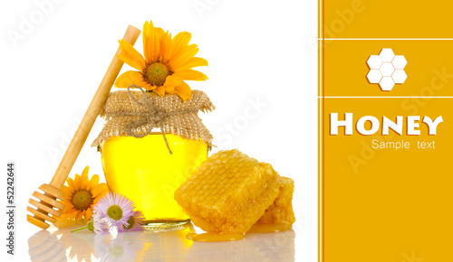 Jar of honey and honeycombs isolated on white