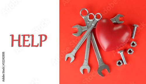 Reconstruction of heart tools on color background